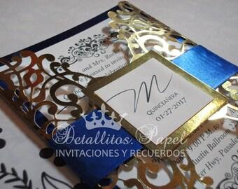 Unique invitations etsy royal blue and gold invitation gold invitations bridal shower invitation wedding invitation stopboris Choice Image