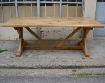 Solid wood oak handmade dining table