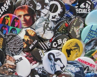 24 Indie Band Badges (Mostly UK) 2 Dozen Colorful 1.25 inch Indie Music Pinback Buttons or Pins