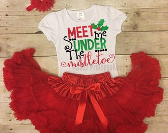 Mistletoe Outfit, Girls Christmas Outfit, Toddler Christmas Outfit, Christmas Party Outfit, Girls Holiday Outfit, Merry Christmas Outfit