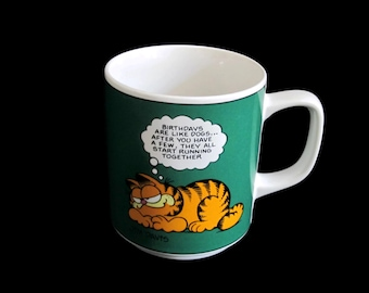 Vintage, Garfield, Cat, Coffee, Mug, Cup, Handled, Birthday, Birthdays, Dogs, Start, Running, Together, Green, Orange, Jim, Davis