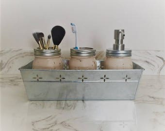 mason jar bathroom, rustic bathroom, mason jar soap pump, bathroom storage, country decor, farmhouse decor, bath and beauty