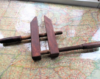 Vintage Wooden Screw Clamp Vice