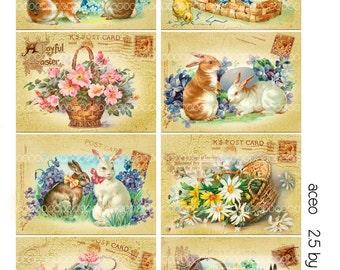 Digital collage, instant download, Vintage Easter Images, Easter Rabbit Bunny chicks eggs, flowers--8.5 by 11--Digital Collage Sheet 1964