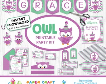 Owl Printable Party Kit - Owl Invite & Decorations - Owl Hoot Party - Instantly Download and Edit at Home with Adobe Reader