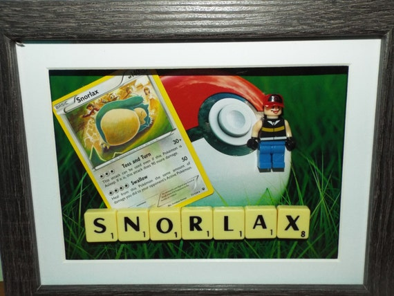 Snorlax Pokemon card in a frame with custom lego trainer and ...