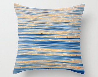 Monet Memories, Throw Pillow Cover, Fine Art Photography, Sunset, Reflection, Tranquil Home Decor, Ocean, Waves, Deep Blue Water, Abstract