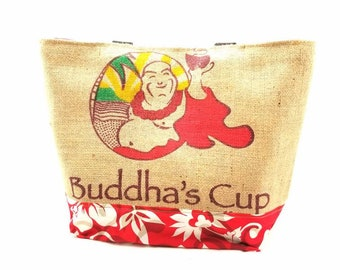 MTO - Large Tote - Buddha's Cup Coffee Recycled Tote Bag