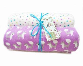Organic Cotton Flannel Baby Receiving Blanket Set Grey Fox and Purple Polka Dots Cotton Newborn Swaddling
