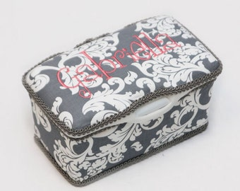 Personalized Wipes Case Tub - Grey Damask with Coral