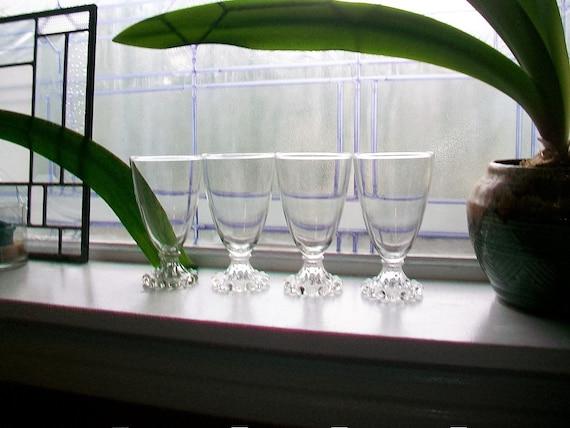 4 Vintage Berwick Boopie Goblets Anchor Hocking Glass 1950s 5.5 Inch