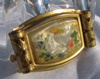 Extraordinary Victorian Era Hand Painted Mother of Pearl Rolled Filigree Edged Brooch, As Is, Trombone Clasp