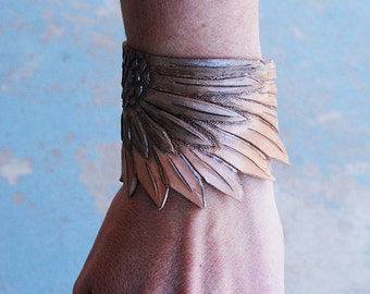 Bird Wing Bracelet - Tooled Leather Cuff Bracelet - Custom Made Leather Bracelet