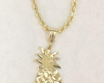 14k gold hawaiian diamond cut pineapple pendant charm