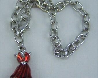 B271, Red Dress Charm Bracelet