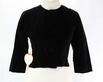 Size 10 Black Jacket - 1960s Velveteen - Miss Trude Jr - 3/4 Sleeve - Cropped Waist - Tailored 60s - Bows - Deadstock - Bust 36.5 - 45803-1