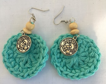 Blue Aquarius Zodiac Earrings