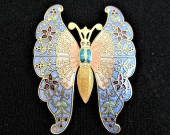 Cloisonne Butterfly Brooch Large Pin Peach Lilac Enamel Gold Vintage Jewelry Victorian Style Gift for Women Cloisonne Brooch Asian Jewelry