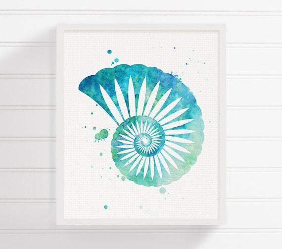 Bathroom Wall Art Canvas Artwork Nautical Coral Reef Ocean: Watercolor Seashell Seashell Art Seashell Print Sea Shell