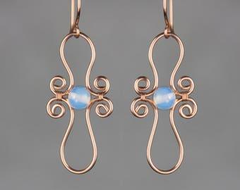 Pearl copper wiring spiral hoop earring handmade US freeshipping Anni Designs