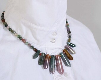 Indian Agate Moss Agate Fan Necklace
