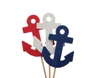 Anchor Cupcake Toppers 12CT, Baby Shower, Beach Wedding, Nautical Theme Party Decorations, Food Picks - No716