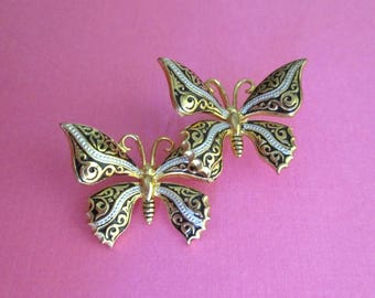Damascene Butterfly Duo Pin