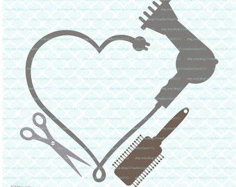 Blowdryer Monogram Frame svg Hair svg Hairstylist svg Hairdresser svg Beauty Salon svg dxf eps jpg files for Cricut Silhouette cut files