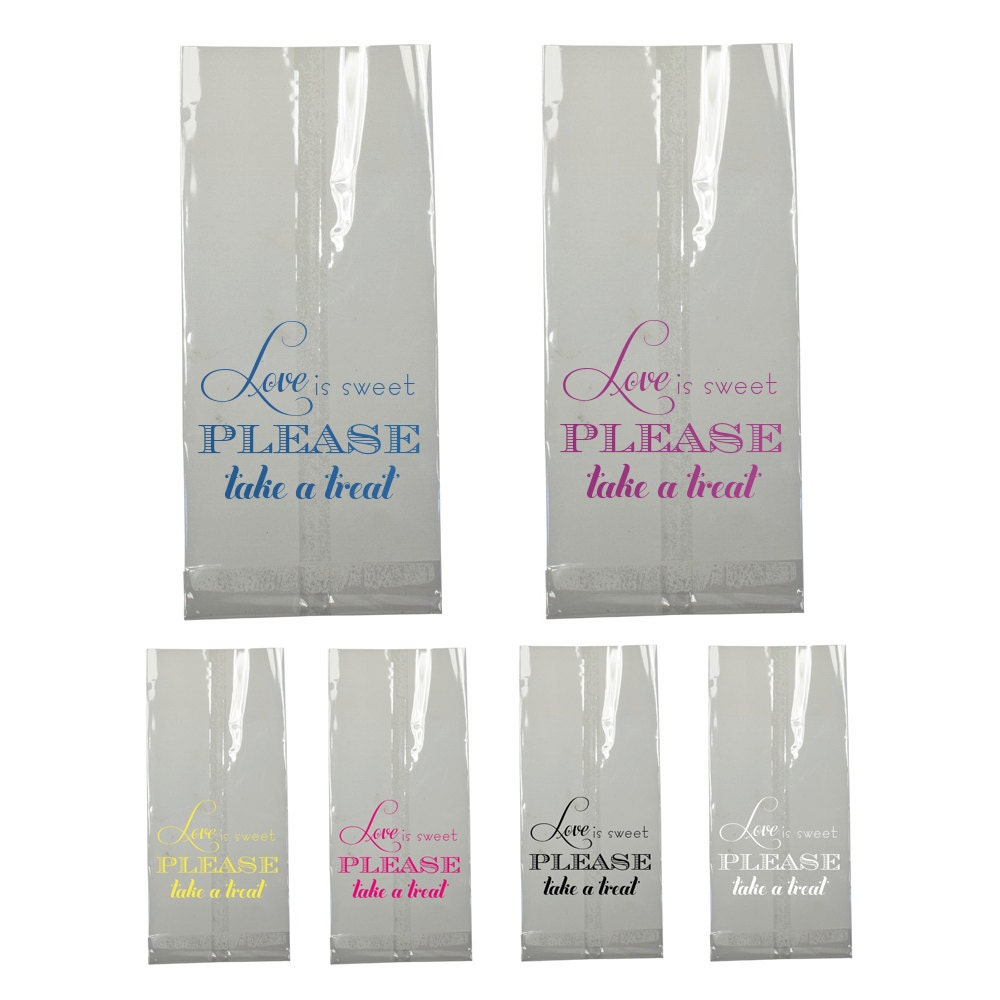 Candy Bar Bag Wedding Favor Love is Sweet Clear Large