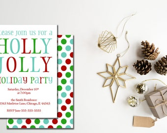 Holly Jolly Holiday Party Invitation, Holiday Party Invitation, Open House Holiday Party Invitation, Printable Invitation red blue