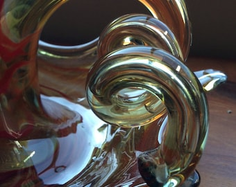 Now Reduced: Swanky Swirled Amber Vintage Art Glass Dish/Bowl