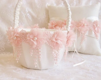 Blush Flower Girl Basket and Pillow -  Ring Bearer Pillow, Flower Girl Basket Set Blush on Ivory Venice Lace