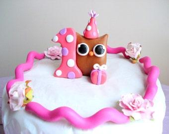 Girls First Birthday Owl Birthday Cake Topper Pink 1st Birthday Cake Topper
