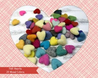 Felt Hearts -  3 to 4 cm - 20 count -Mixed Colors - Wool Felt Hearts Mixed Colors