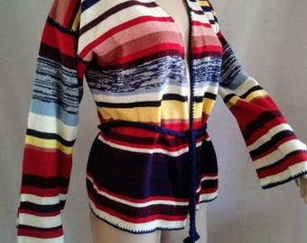 Vintage 70's Sleeve Sleeve Tie Waist Sweater Space Dyed