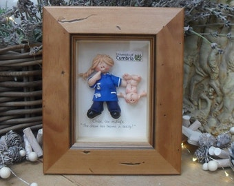 PERSONALISED MIDWIFE GIFT, Framed Polymer Clay Characters, Retirement, Promotion, Birthdays