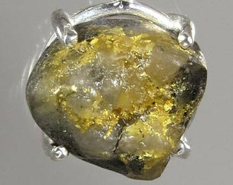 Raw Native Gold in Quartz  4.98 ct  from California Sterling Pendant w Sterling Chain - NOW on SALE / Free Shipping, Gift Wrap