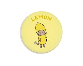 Sour Puss Lemon Cat Pin Funny Gift Cute Magnet Fridge Magnet Cat Pin Badge Pinback Button Cat Button Funny Pins