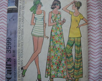 vintage 1970s McCalls sewing pattern 3599 misses dress or top and pants or shorts size 14