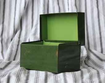 Green Metal Recipe Tin