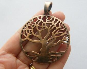 1 Tree pendant antique copper tone CC9