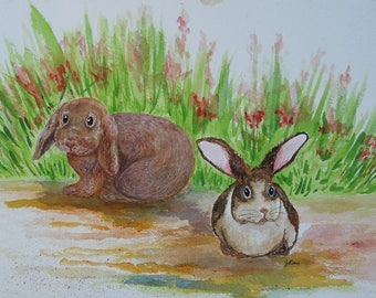 Bunnies in the Spring Grass