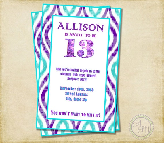 Girl Birthday Party Invitation Purple & Aqua Sleepover Party