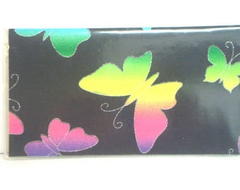 Checkbook Cover , Checkbook Holder Cash Holder - Rainbow  Butterfly /  Ready to Ship