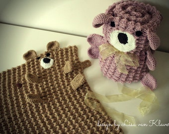Download Now - CROCHET PATTERN Roly Poly Teddy Blankets - Baby and Lovey Sizes - Pattern PDF