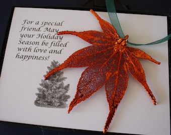 Copper Maple Leaf Ornament, Real Leaf Japanese Maple, Maple Leaf Extra Large, Ornament Gift, Christmas Card, ORNA84