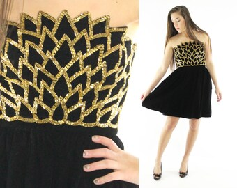 Vintage 80s Velvet Beaded Dress Michael Novarese Strapless Evening Gown Gold Petals 1980s Small S LBD