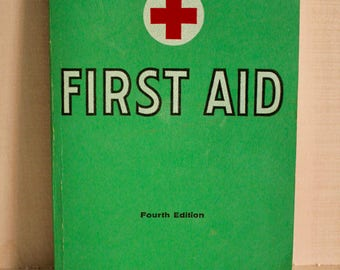 1969 First Aid Textbook, The American National Red Cross First Aid Manual, 1960s First Aid, Vintage Books, Vintage Book Decor, Text Book