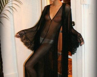 Black Lace Robe Black Sleepwear Lingerie Black Bridal Robe Black Lingerie Honeymoon Wedding Lingerie