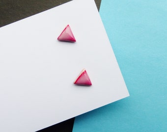 Cute Red Stud Earrings, Triangle Geometric Earrings, Small Dainty Earrings, Simple Earrings, Modern Minimal Jewellery, Gifts for Women Girl